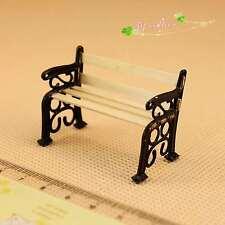 1/24 Dollhouse Miniature furniture outdoor garden/ park metal wooden bench chair