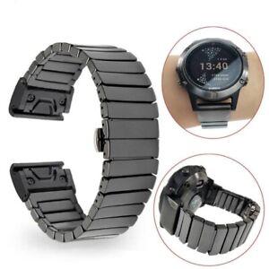 Quick Fit Ceramic Butterfly Buckle Watch Band Strap for Garmin Fenix 5/Fenix 5X