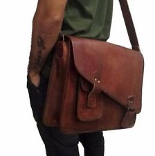Vintage Handmade Leather Briefcase Business Laptop Attache Messenger Files Bag