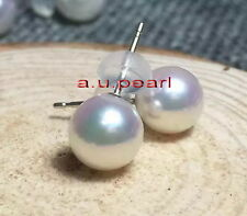 Top 18K GOLD 11-12MM round real NATURAL SOUTH SEA white PEARL stud EARRINGS