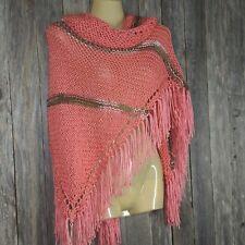 Watermelon Pink Womens Hand Knitted Shawl Wrap Multi Boho Hippie