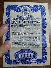 VTG Keystone Automobile Club $5000 BAIL Service Certificate, PA / NJ Great Cond.