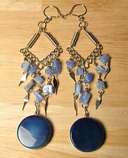 Peruvian metal ethnic earrings with blue agate stone & beads. Free UK shipping.
