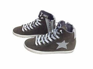 scarpe sneakers alte uomo camoscio Via Condotti grigio stella made in italy nuov