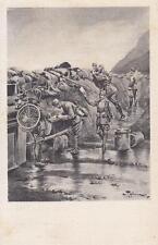C1602) WW1, BERSAGLIERE CICLISTA PORTAORDINI DIETRO LA TRINCEA. VIAGGIATA.