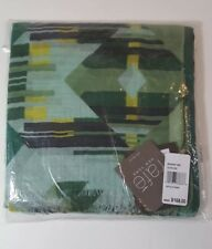 Brand New RAFE New York Olive Optic Stripe Sarong Scarf Wool & Silk Made India