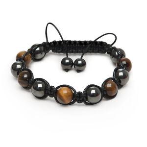 Shamballa Bracelet Tiger Eye & Hematite Healing Energy Gemstones Made In UK