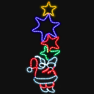 CHRISTOW Santa Star Rope Light Silhouette Outdoor Christmas Wall Decoration 288
