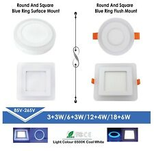 LED Downlight Blue Round & Square Flush/Surface Mounted Panel Blue+White Light