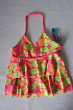 NEW Girls Tankini Top Swimsuit Small 6 - 6X Pink Floral Halter Top Bathing Suit