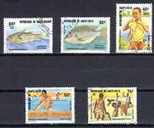 Poissons Haute Volta (4) série complète de 5 timbres oblitérés
