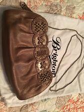 Brighton Copper Bronze Masterpiece Leather Shoulder/Clutch Nala Floral Appliqué