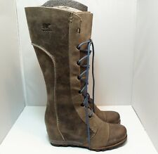 SOREL Cate The Great Wedge Tall Leather winter Boots Women's size 10.5