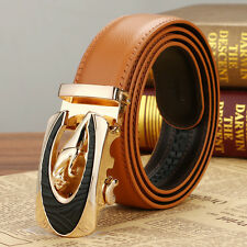 Fashion Mens Genuine Leather Belt Waistband Strap Jaguar Automatic Buckle Casual