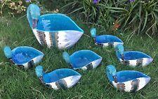 Bitossi Raymor Blue Italy Pottery Duck Swan Family Bowl Set Aldo Londi Rimini