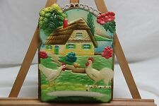 Vintage German Germany Calendar Top Topper Embossed Die Cut Chicken West