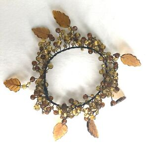 5 Pottery Barn Amber Beads with Leaves Wired Glass Candle Ring Wreath Bobesche