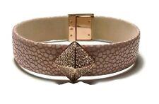 NWT $125 MICHAEL KORS Pink White Leather Gold Rhinestone Snap Bracelet