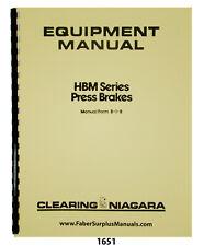 Niagara HBM Series Press Brakes Operation, Maintenance & Parts List Manual #1651