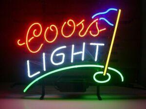 "New Coors Golf Neon Light Sign 14""x10"" Man Cave Real Glass Artwork Bar Beer"