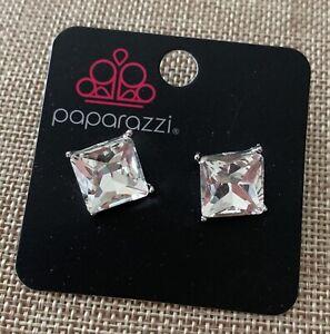 Paparazzi Accessories Clear Rhinestone Square Stud Earrings