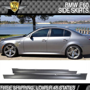 Fit 04-10 BMW E60 E61 5-Serie M5 Style PP Side Skirts Panels Pair 525i 530i 545i
