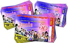 BIRTHDAY PARTY INVITATIONS Fancy Dress Adult 40's 50's 60's Red, Pink or Blue