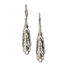 Boho Charm Pendant Silver-tone Filigree Flower Rhombus Earrings
