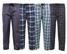 Mens Lounge Pants Pyjama Cotton Bottoms Check Trousers Night Wear Pockets S-XXL