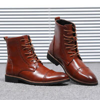 Mens Oxfords Brogue Ankle Boots High Top Wing Tip Leather Casual Formal Shoes