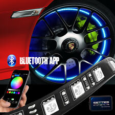 "Bluetooth Control Wheel Well Light Kit 4pc 12"" Custom RGB Accent LED Strip Light"