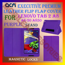 ACM-EXECUTIVE LEATHER FLIP CASE of LENOVO TAB 2 A8 A8-50 A850 COVER STAND-PURPLE
