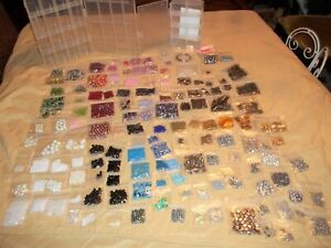 GLASS BEAD JEWELRY LOT 143 BAGS AND 2 CONTAINERS NEW BEADS TIBETAN SILVER, GOLD,