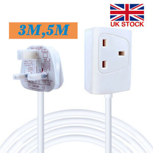 1 Way Gang Single Socket Mains Electric Extension Lead 2/3/5m Cable 13A UK Plug