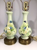 Vintage Pair Hand Painted Signed Table Lamps Flowers Daisies Brass Green