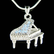 w Swarovski Crystal MUSIC Blue ~Baby Grand Piano~ Musical Pendant Charm Necklace
