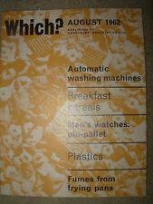 VINTAGE WHICH MAGAZINE AUGUST 1962 WASHING MACHINES - MEN'S WATCHES - PLASTICS