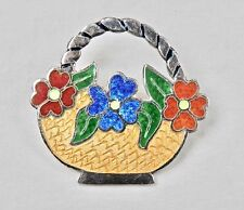 Mexican Brooch Sterling Silver Enamel Flower Basket Brooch Signed Taxco Mexico