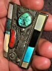 VINTAGE NAVAJO STERLING SILVER CORAL TURQUOISE MOTHER OF PEARL BOLO HEAVY vafo