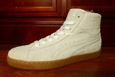 $100 Mens PUMA Suede Mid-Top Shoes sz 10.5 Off-White BONE  geometry snow leather