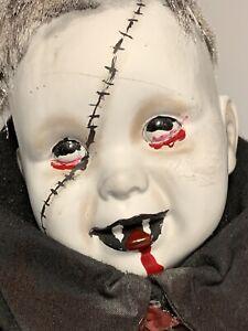 VAMPIRE OOAK BISQUE DOLL Creepy gothic horror Halloween Prop Evil Alphonso