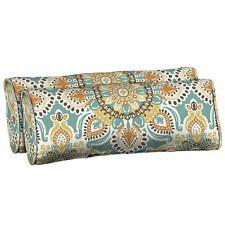 Teal Moroccan Outdoor Patio Chair 2 Lumbar Pillow Cushion Sun Resistant Fabric