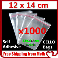 1000 x Cello Bag 120x140mm Cellophane Clear Resealable Plastic Self Adhesive