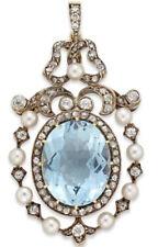 2.75cts Rose Cut Diamond Pearl Aquamarine Antique Victorian 925 Silver Pendant