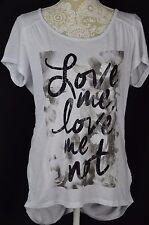 Style&Co. Womens Medium White Loose Fitted Short Sleeve NWOT Love Me Love Me Not