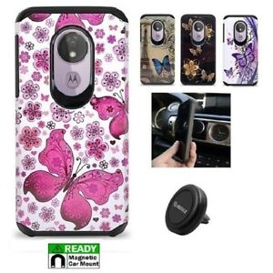 For Straight Talk Moto g7 Optimo Maxx Two Layer Hard Cover Case + Car Mount