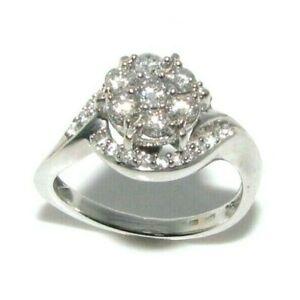 Ladies/womens 18ct 18carat white gold twist ring set with diamonds, UK size O