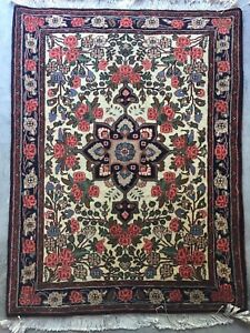 2x3 FT Antique Handmade Bijar Wool Oriental Rug Masterpiece Fine Quality