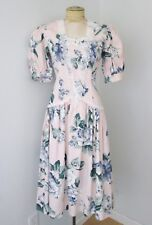VGC Vtg 80s Jessica McClintock Gunne Sax Pink Floral Cotton Lace Tea Dress  6