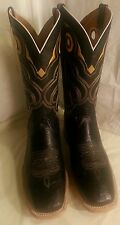 MEN'S COWBOY WESTERN EXOTIC BOOTS OSTRICH BELLY SQUARE TOE RODEO BLACK 9.5